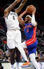 Bruce Brown drives against Nets center DeAndre Jordan during the second half Saturday.