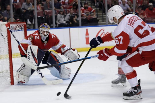 Florida Panthers goaltender Sergei Bobrovsky defends the goal as Detroit Red Wings left wing Taro Hirose attempts a shot during the first period Saturday, Nov. 2, 2019, in Sunrise, Fla.