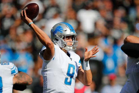 Lions quarterback Matthew Stafford passes against the Raiders during the first half in Oakland, Calif., Sunday, Nov. 3, 2019.