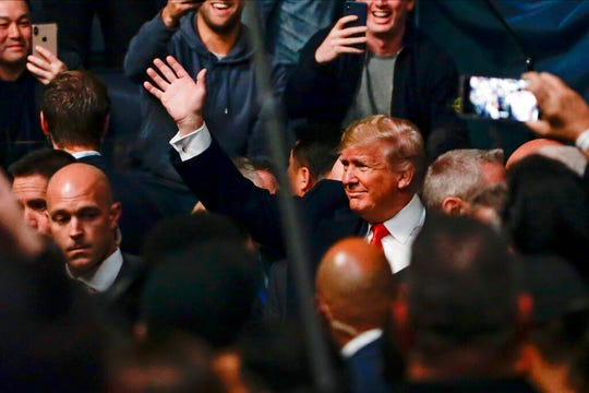 President Donald Trump arrives at the UFC 244 mixed martial arts event, Saturday, Nov. 2, 2019, in New York.