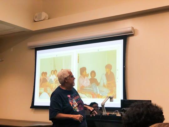 Founder of FSU Pride Student Union, Hiram Ruiz, gives a talk on campus.