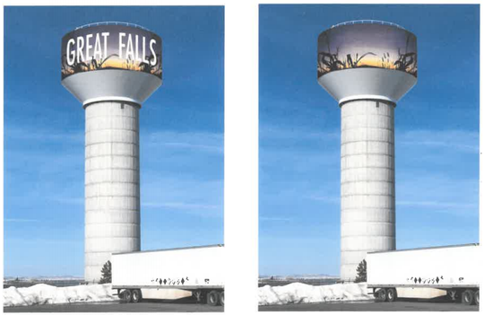 These two photos show the front and back of a mural that will be painted on the water tower on Gore Hill if private funds can be raised.