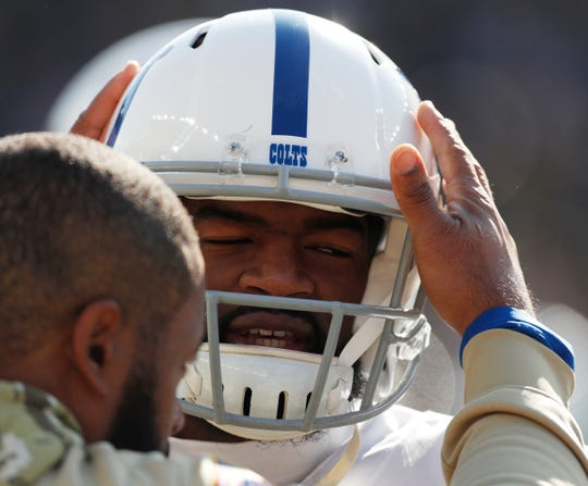 Jacoby Brissett (7) of the Indianapolis Colts gets encouragement after he was injured during game action, Colts at Heinz Field, Pittsburgh, Sunday, Nov. 3, 2019. Colts lost 24-26.