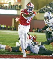 Indiana Hoosiers running back Stevie Scott III (8) scores a touchdown during the game against Northwestern at Memorial Stadium in Bloomington, Ind., on Saturday, Nov. 2, 2019.