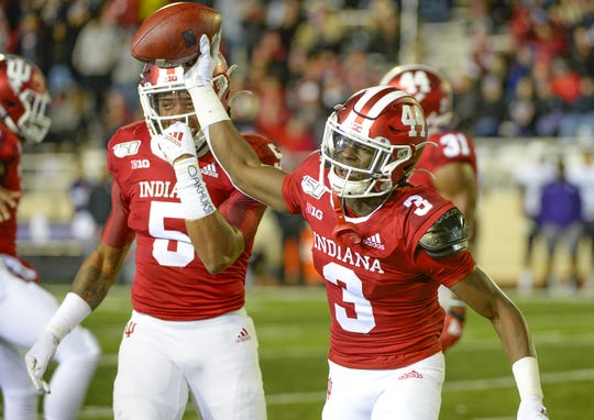 Indiana Hoosiers defensive back Tiawan Mullen (3) celebrates after the defense forced a fumble during the game against Northwestern at Memorial Stadium in Bloomington, Ind., on Saturday, Nov. 2, 2019.