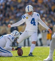 Indianapolis Colts kicker Adam Vinatieri (4) kicks and makes a 25 yard field goal against the Pittsburgh Steelers at Heinz Field in Pittsburgh, Pa., on Sunday, Nov. 3, 2019.
