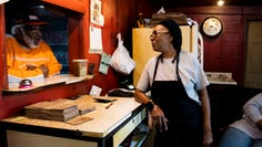 """One of owner Helen Turner's favorite parts of her job: the people. """"I love to clown with them,"""" Turner said. On occasions when her friends come by the restaurant asking for a pork sandwich, she responds with """"Do it yourself."""""""