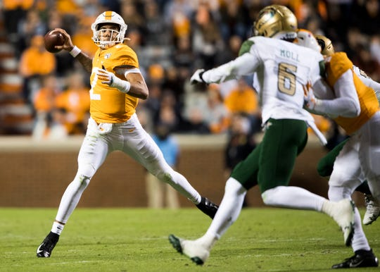Tennessee quarterback Jarrett Guarantano (2) throws a pass during a football game between Tennessee and UAB at Neyland Stadium on Saturday, November 2, 2019.