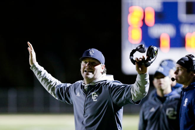 Central Catholic head coach Brian Nay reacts  during the second quarter of an IHSAA sectional semi-final football game, Saturday, Nov. 2, 2019 in Lafayette.
