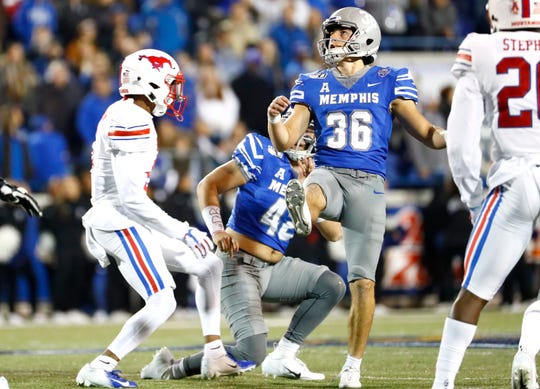 Memphis kicker Riley Patterson makes a 49-yard field goal against SMU at the Liberty Bowl Memorial Stadium on Saturday, Nov. 2, 2019.