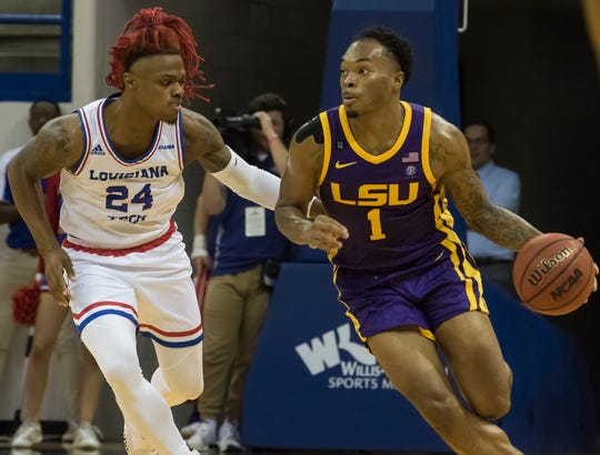 LSU's Javonte Smart (1) brings the ball down court while LA Tech's Cobe Williams (24) guards during the exhibition basketball game at the Thomas Assembly Center in Ruston, La. on Nov. 2. LSU would win the game 83-70, while LA Tech and Ruston would benefit from the proceeds raised going to the LA Tech Disaster Relief Fund to help with recovery efforts from the tornado which struck the town in April.
