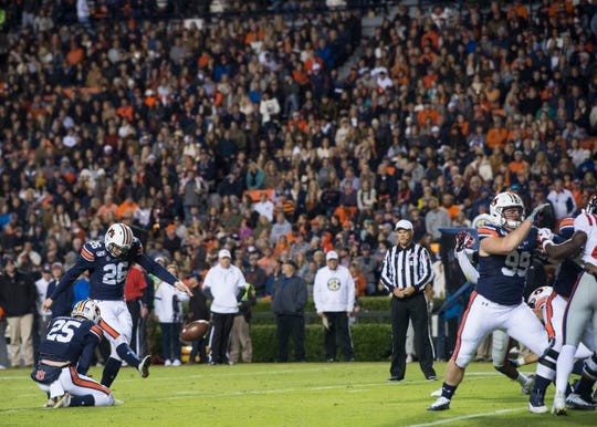 Auburn kicker Anders Carlson (26) kicks a field goal at Jordan-Hare Stadium in Auburn, Ala., on Saturday, Nov. 2, 2019. Auburn leads Ole Miss 10-7 at halftime.