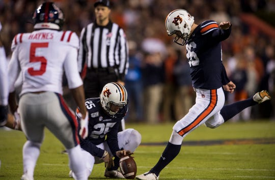 Auburn kicker Anders Carlson (26) attempts a field goal at Jordan-Hare Stadium in Auburn, Ala., on Saturday, Nov. 2, 2019. Auburn defeated Ole Miss 20-14.