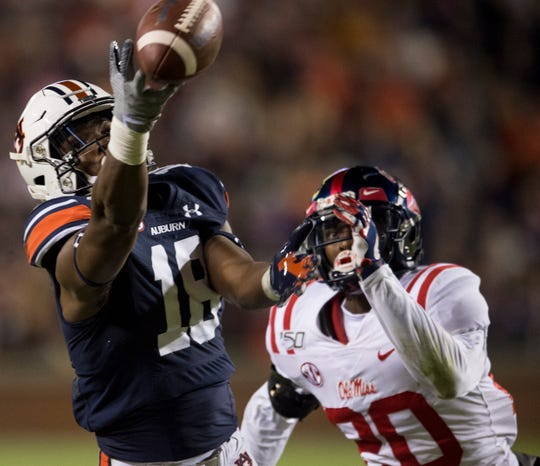 Auburn wide receiver Seth Williams (18) has the ball go off his finger tips at Jordan-Hare Stadium in Auburn, Ala., on Saturday, Nov. 2, 2019. Auburn defeated Ole Miss 20-14.