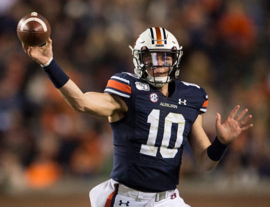 Auburn quarterback Bo Nix (10) throws the ball at Jordan-Hare Stadium in Auburn, Ala., on Saturday, Nov. 2, 2019. Auburn defeated Ole Miss 20-14.