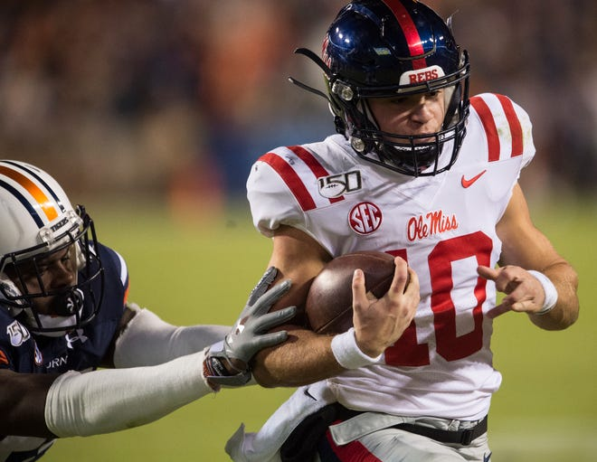 Ole Miss quarterback John Rhys Plumlee (10) runs the ball at Jordan-Hare Stadium in Auburn, Ala., on Saturday, Nov. 2, 2019. Auburn leads Ole Miss 10-7 at halftime.