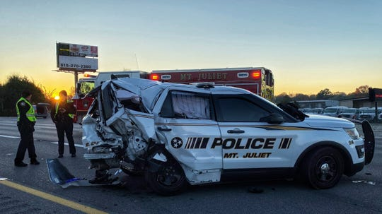 Police say a vehicle smashed into a Mt. Juliet Police SUV during an accident investigation on Nov. 3, 2019 in Mt. Juliet, Tennessee.