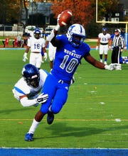 Shawn Collins scoring his first of two touchdowns for Montclair.