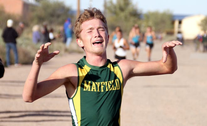 Mayfield senior Nickolas Yacone was overcome with emotion when he hit the finish line.