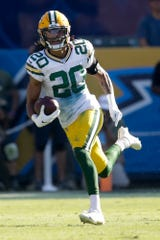 Green Bay Packers cornerback Kevin King runs against the Los Angeles Chargers during the first half of an NFL football game Sunday, Nov. 3, 2019, in Carson, Calif. (AP Photo/Marcio Jose Sanchez)