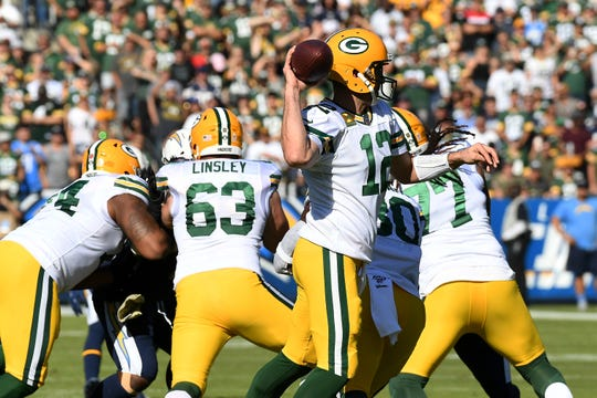 Nov 3, 2019; Carson, CA, USA; Green Bay Packers quarterback Aaron Rodgers (12) throws a pass against the Los Angeles Chargers during the first quarter at Dignity Health Sports Park. Mandatory Credit: Richard Mackson-USA TODAY Sports