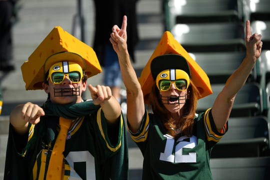 A Green Bay Packers fans watch warm ups before during the first half of an NFL football game against the Los Angeles Chargers Sunday, Nov. 3, 2019, in Carson, Calif. (AP Photo/Mark J. Terrill)