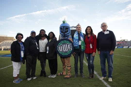 Chelsea Palmer (third from left), Naiara Fernandes (second from right) and Dick Appleyard (far right) headlined an acclaimed UWF Hall of Fame Class. The group is pictured here at UWF's home football game against North Greenville at Blue Wahoos Stadium on Nov. 2, 2019.