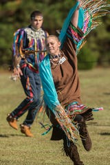 April Millstead practices her Pow Wow dances Sunday, November 3, 2019 at the Santa Rosa Creek Indian Tribal Grounds.