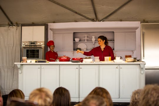 Food Network's Alex Guarnaschelli walks the audience through a chicken recipe during the azcentral Wine and Food Experience Saturday, Nov. 2, 2019, at Salt River Fields in Scottsdale.