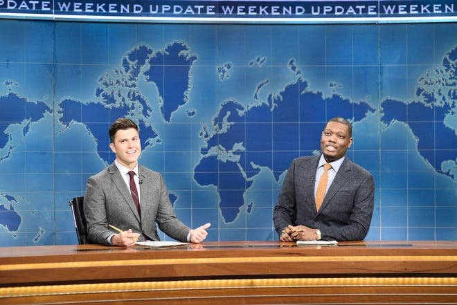 Anchor Colin Jost and anchor Michael Che during Weekend Update on Saturday, November 2, 2019.