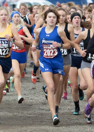 Lily Connelly of Croswell-Lexington runs in the state Division 2 cross country meet at Michigan International Speedway in Brooklyn on Saturday, Nov. 2, 2019.