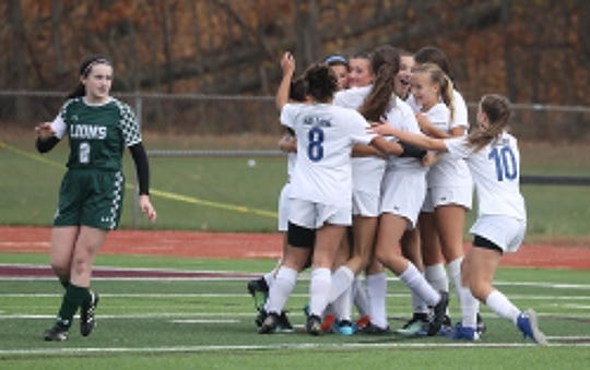 Cold Spring celebrates a goal against Lefell, formerly Solomon Schecter, during the Section 1 Class C girls soccer championship at Arlington High School Nov. 3, 2019. Cold Spring defeated Leffell 3-1.