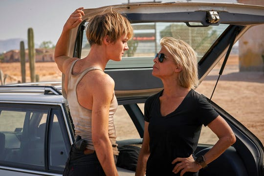 "Mackenzie Davis, left, and Linda Hamilton star in ""Terminator: Dark Fate."""