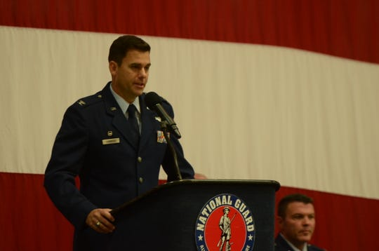 Col. Jacob Hammons speaks at a change-in-command ceremony at the Nevada Air National Guard base on Saturday, Nov. 2, 2019.