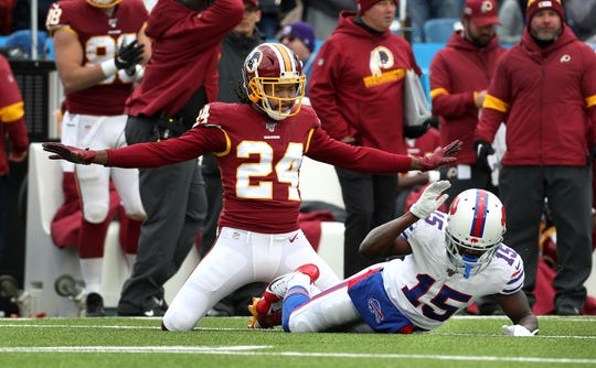 Redskins cornerback Josh Norman breaks up this pass intended for Bills receiver John Brown.