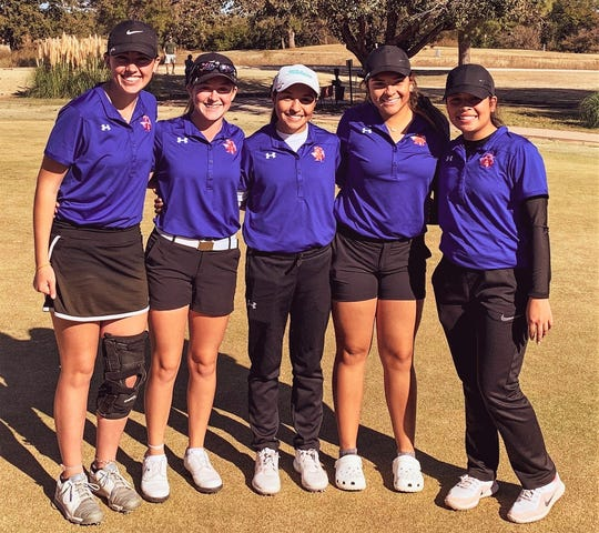 The San Angelo Central High School girls golf team won the Abilene Halloween Invitational on Saturday, Nov. 2, 2019. Pictured left to right are: Paige Harris, Ryann Honea (medalist champ), Emily Coronado, Moriah Gonzales and Kayleah Castillo.