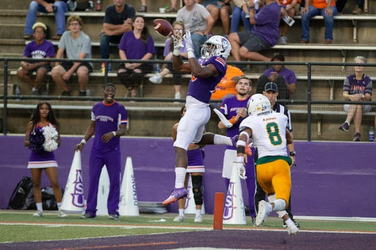 Kendrick Price, pictured vs. Southeastern Louisiana, set career highs of five catches for 66 yards Saturday in a 30-20 loss at McNeese.