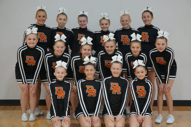 2019 Dell Rapids Competitive Cheer team that finished second place at the Class A meet: Front Row (left-to-right) Alana Lynaugh, Olivia Godwin, Haley Larson, Hannah Jensen. Second row: Kate Golden, Lizbeth LeFebrve, Jade Kludt, Aslynn Trewin, Bella Hymans, Addison Vant'Hof. Back Row: Katy Pulscher, Kaylei Oberg, Cydney Lee, Katelyn North, Hannah Heiberger, Lily Tiernan.