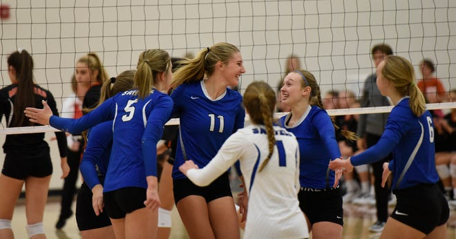 Sartell celebrates after a point in the Section 8-3A championship game against Moorhead Saturday, Nov. 2, 2019, at Alexandria High School.