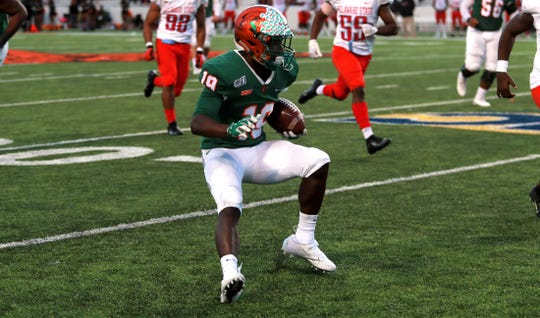FAMU wide receiver Xavier Smith set a school single-game record with four touchdowns in a 52-30 win over Delaware State on Saturday, Nov. 2, 2019 at Bragg Memorial Stadium.