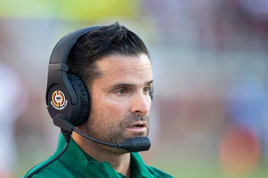 Miami head coach Manny Diaz looks on in the second half of an NCAA college football game against Florida State in Tallahassee, Fla., Saturday, Nov. 2, 2019. (AP Photo/Mark Wallheiser)