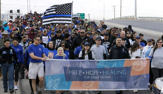 About 1,500 El Pasoans participated in the 13th Annual A Voice Against Crime Walk from Ascarate Park to the Crime Victim's Memorial on Yarbrough Ave.