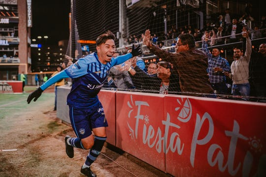 Sebastian Velasquez celebrates after his 88th minute goal put El Paso ahead 3-0 in their Western Conference Semifinal against Sacramento FC