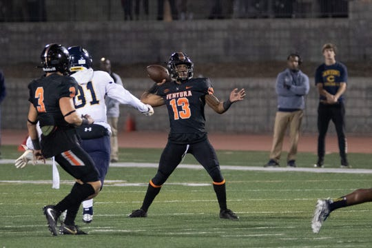 Ventura College receiver Terrell Vaughn, shown throwing a pass against College of the Canyons, leads Southern California with 12 touchdown receptions.