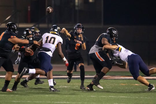 Ventura College quarterback Dino Maldonado threw for 257 yards and two touchdowns against visiting College of the Canyons last weekend.