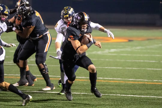 Running back Jayden Vargas ran for three touchdowns as the Ventura College football team hung on for a 30-26 at Long Beach City on Saturday night.