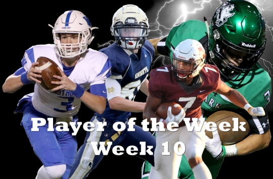 Nominees for Player of the Week are Notre Dame's Andrew Koch, Iowa Park's Slayton Ochoa, Windthorst's Cy Belcher, Vernon's Isaiah Cherry and Munday's Cameron Thornton (not pictured).