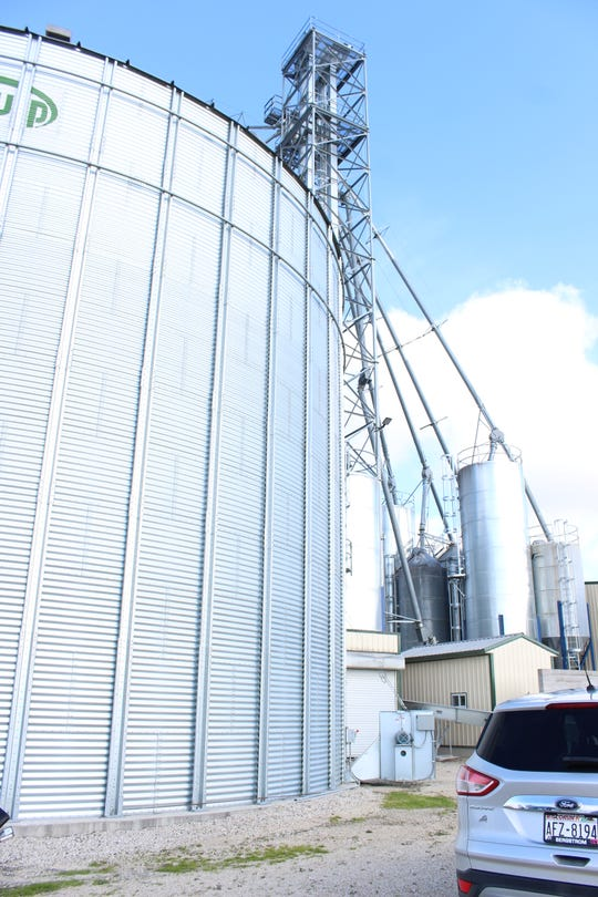 Two large bins outside of the Feed Center at VirClar Farm holds 115,000 bushel each along with a wet ingredients bin that has a capacity of 25,000 bushel.