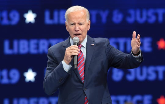Democratic presidential candidate, former Vice President Joe Biden speaks at the Liberty and Justice Celebration at the Wells Fargo Arena on Nov. 1, 2019 in Des Moines, Iowa.