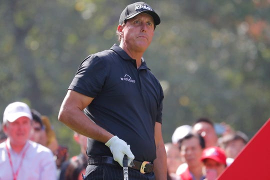 Phil Mickelson shown in action during the first round of the HSBC World Golf Championships at the Sheshan International Golf Club.